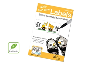 Dump Truck Shoe Labels - Write Your Own >>