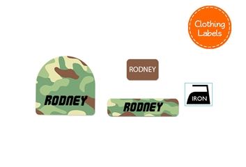 Camo (green mix) CLOTHING Labels Pack