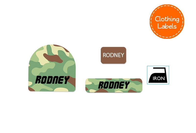 Camo Green Clothing Labels