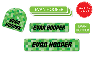 Pixelated (Green) Deluxe School Labels Pack