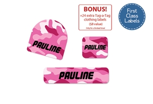 Camo (pinks) First Class School Labels