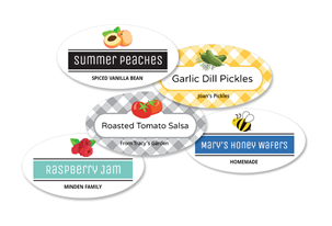 Oval Fabric Canning Labels with Icons