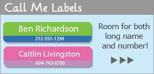 Contact Call Me Labels with phone number and name