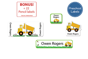 Grassy Dump Truck Preschool Labels Pack