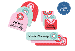 Vintage Dots - First Class School Labels