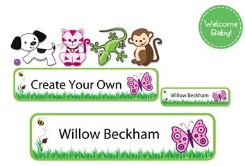 Grassy Scene - Welcome Baby Labels