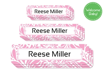 Filigree posie - Welcome Baby Labels