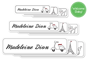 Parisian (belle) Welcome Baby Labels