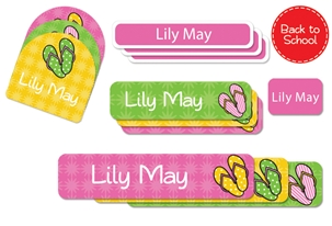 Flip Flops (bright) Back to School Labels