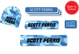 Camo (blues) Back to School Labels
