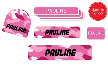 Camo (pinks) Back to School Labels