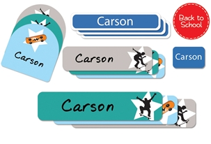 Skateboards (cool) Back to School Labels