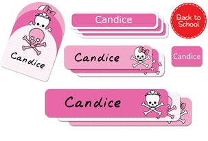 Skulls Hearts (pinks) Back to School Labels