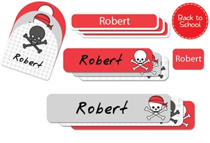 Skulls Pirates (cherry) Back to School Labels