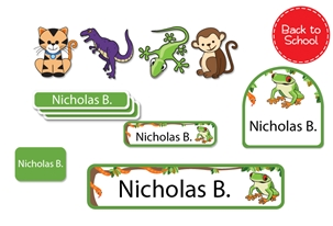 Jungle Scene Back to School Labels - Kids Play