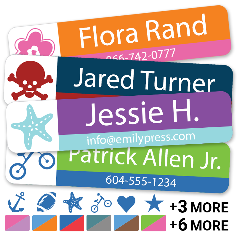 Kids Labels with icons, name and phone number