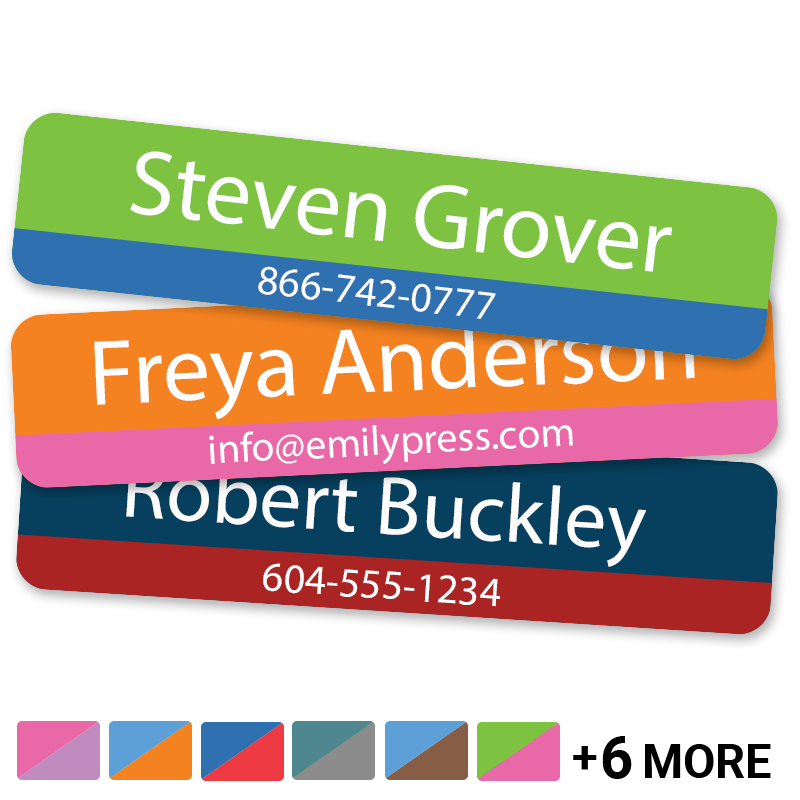 Name labels with phone number