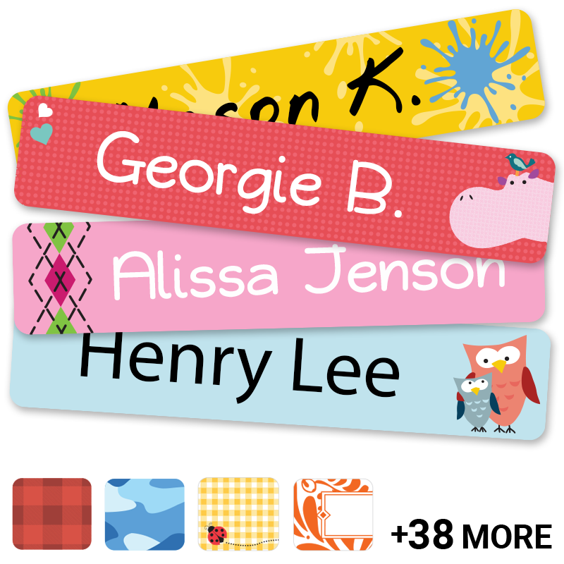 Kids labels with cool designs and trendy patterns