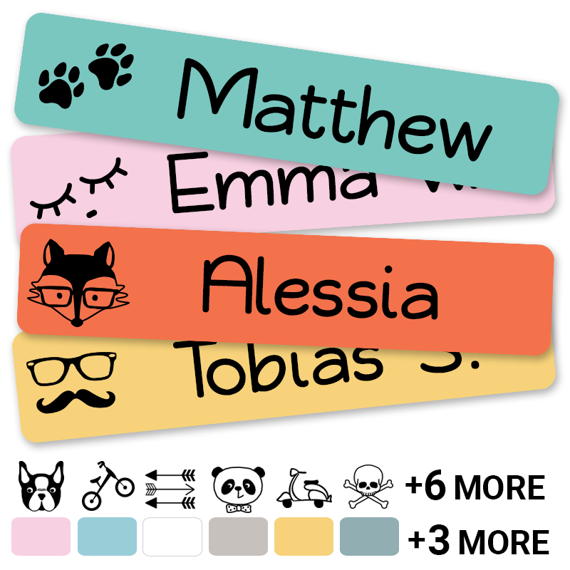 Hipster labels for hip kids and adults