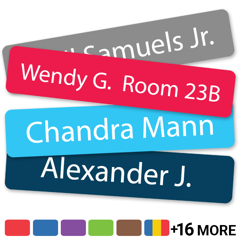 Solid colored labels personalized with names