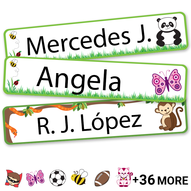 Extra large kids labels with icons