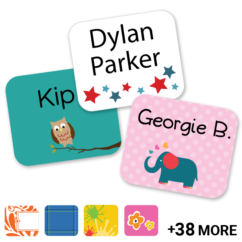 Trendy clothing labels for school and camp