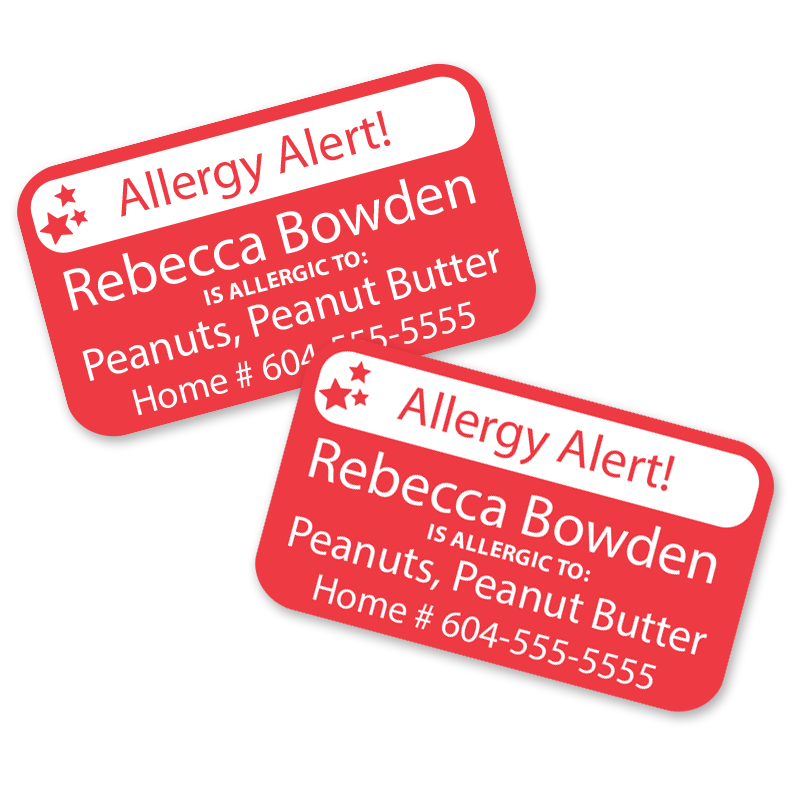 Kids Allergy Alert Labels are dishwasher safe