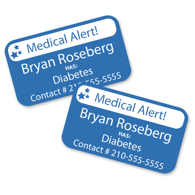 Medic alert labels for diabetes, autism and more