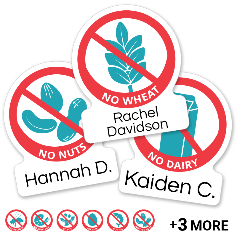 Allergy labels with icons for peanuts, nuts, dairy