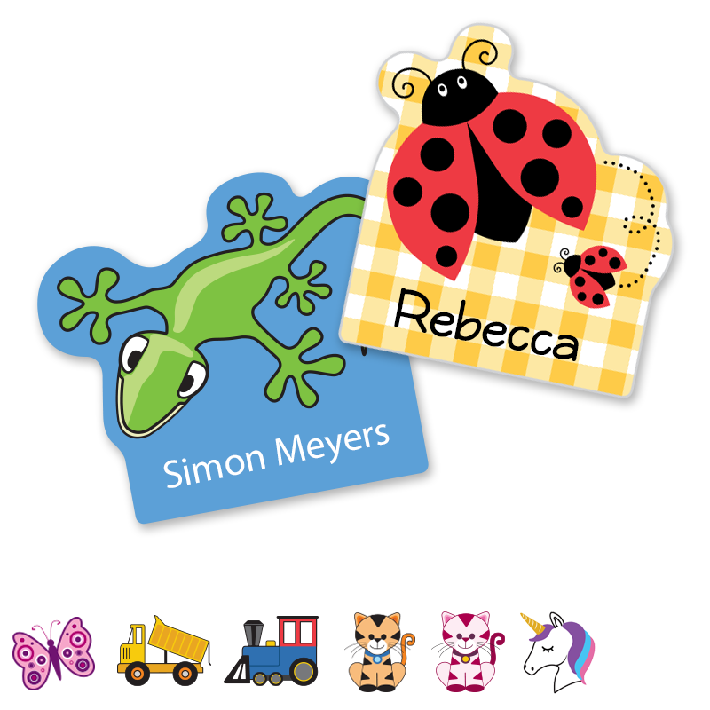 Fun shape labels - cat ladybug train unicorn