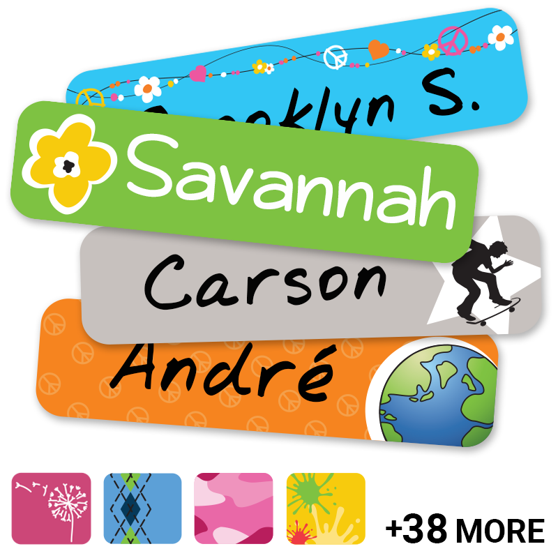 Slim waterproof labels for kids
