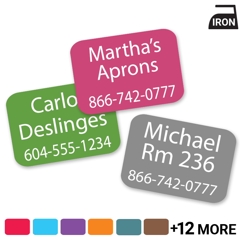 Iron-on Clothing labels with phone number