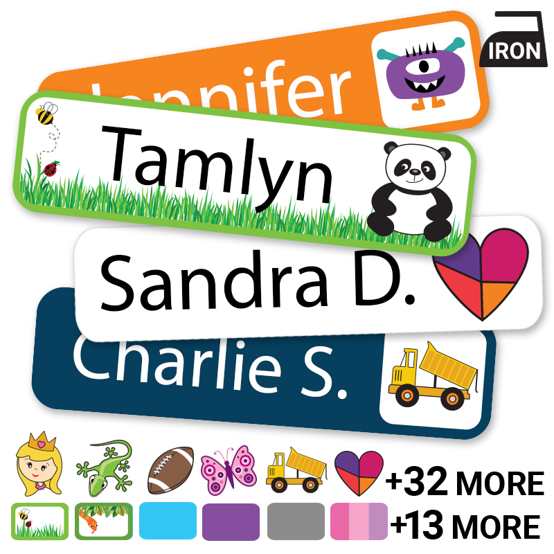 Iron-on labels with cats, dogs, butterfly too