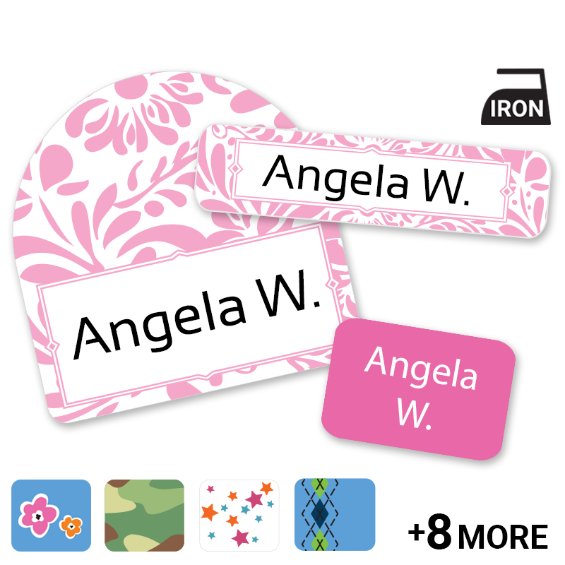 Labels for clothing, peel and stick no iron labels