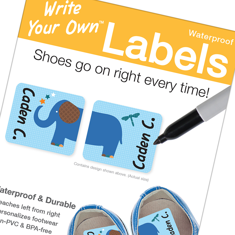Preschool shoe labels, Write on labels