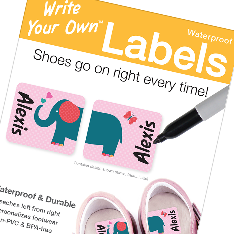 Preschool shoe labels write on self laminating