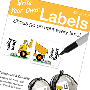 Dump Truck Shoe Labels - Write Your Own