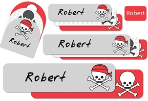 Skulls Pirates (cherry) Camp Labels