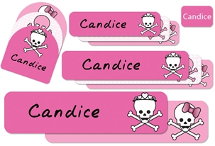 Skulls Hearts (pinks) Camp Labels