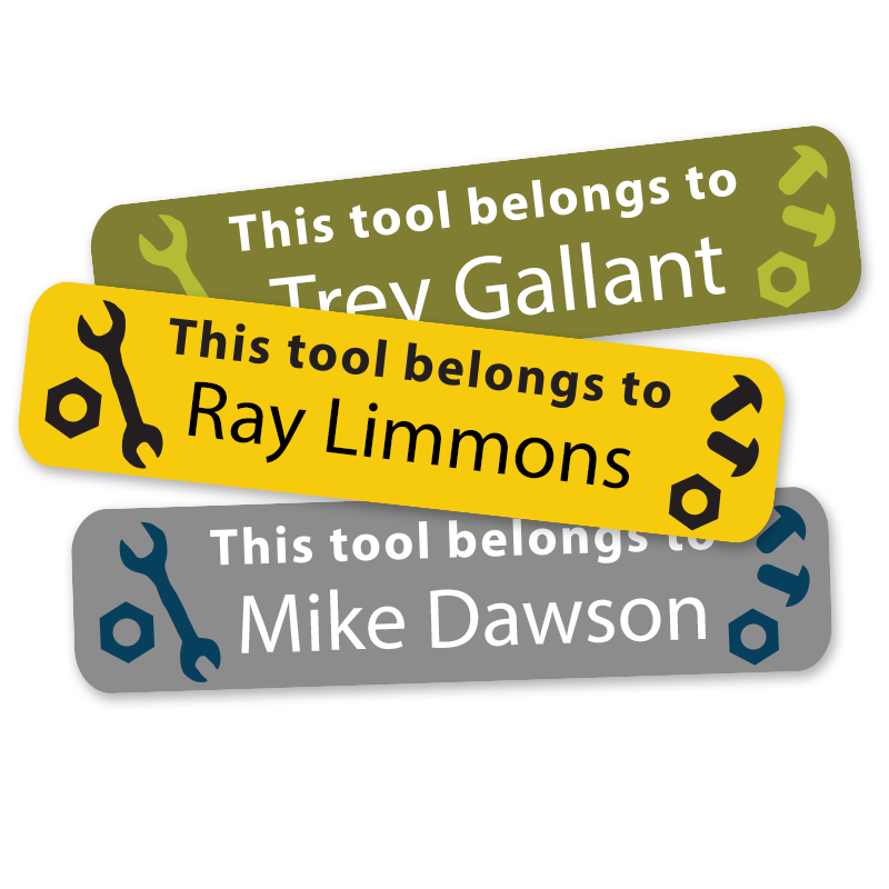 Tool labels for tools, drills, wrenches