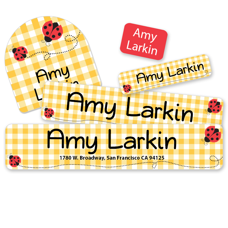 Ladybug labels for camp