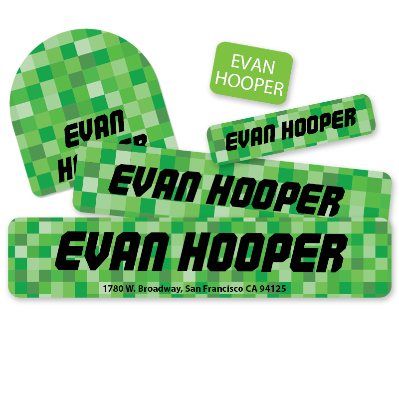 Green Pixels Pixelated camp labels