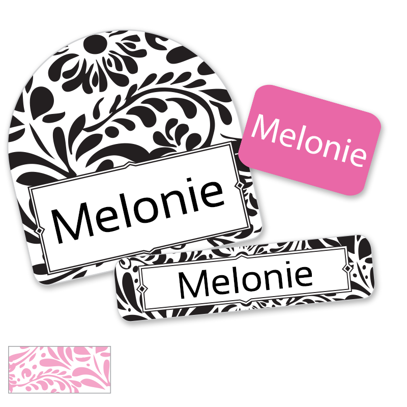Filigree labels for Camp Black and Pink