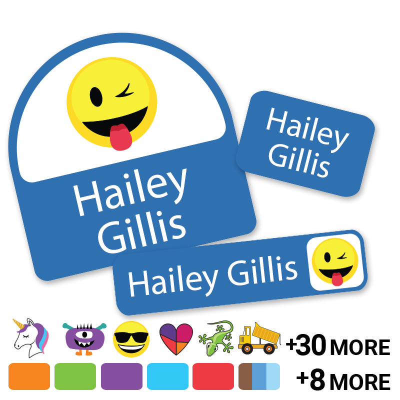 Colortime day camp labels with emojis