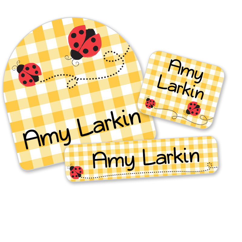 Ladybug labels on gingham for school