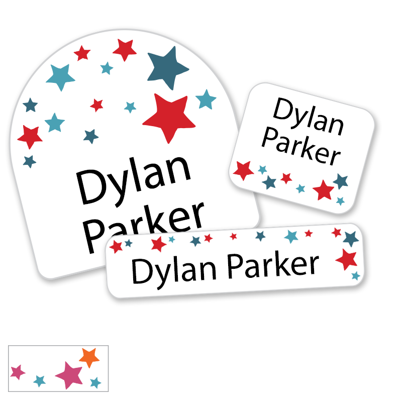 Red White Blue Stars for school labels