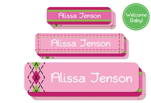 Tailored (pinks) Welcome Baby Labels