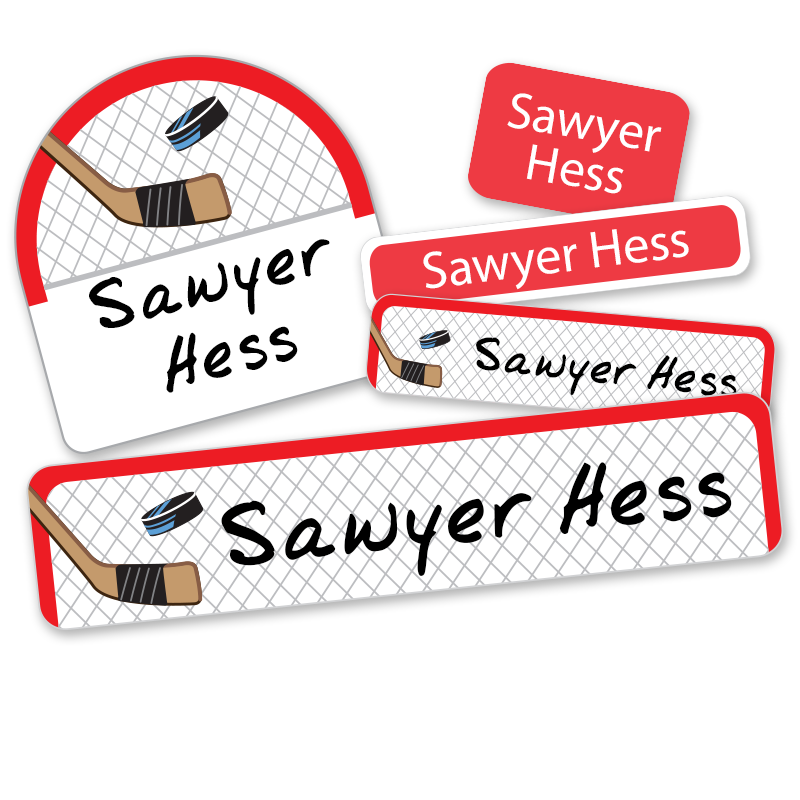 School labels with hockey net hockey stick puck