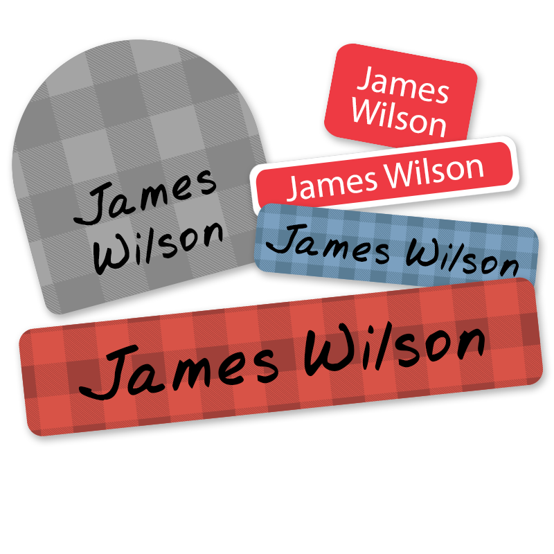 Lumberjack buffalo plaid personalized labels