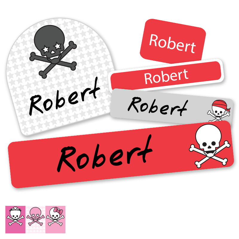 Skull labels for kids school supplies